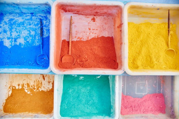Multicolored pigment paints of different shades