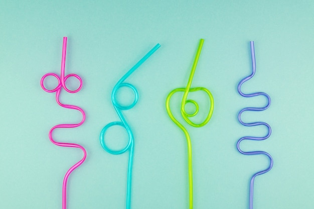 Multicolored plastic cocktails straws.
