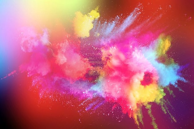 Multicolored powder explosion on black background.