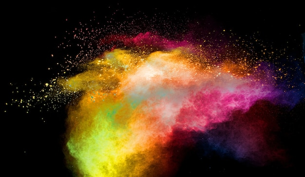 Multicolored powder explosion