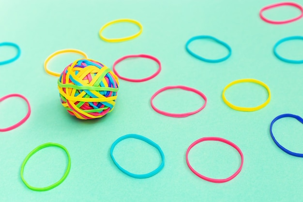 Multicolored rubber ball out of many colorful elastic bands