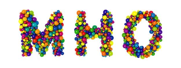 Разноцветные буквы русского алфавита mn o. смешные 3d иллюстрации. глянцевые разноцветные декоративные шары текст.