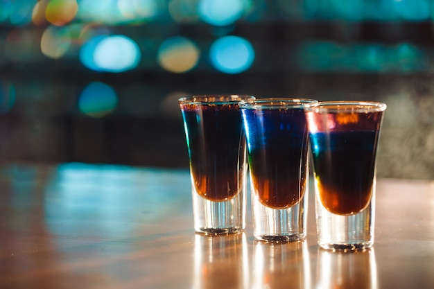 Multicolored shots on bar