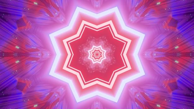 네온 조명에서 만화경 배경의 여러 가지 빛깔의 줄무늬 프리미엄 사진