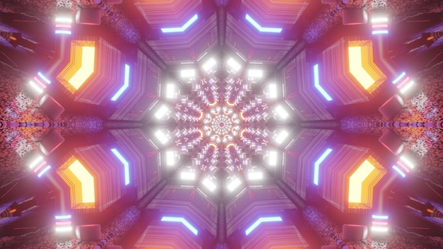 Multicolored symmetric tunnel with kaleidoscopic ornament shimmering with bright neon lights 4k uhd 3d illustration