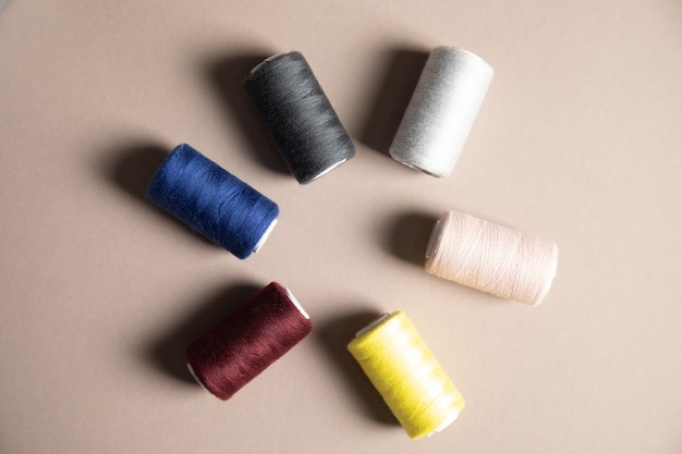 Multicolored threads on the table