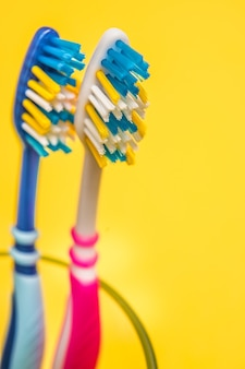 Multicolored toothbrushes. copy space.