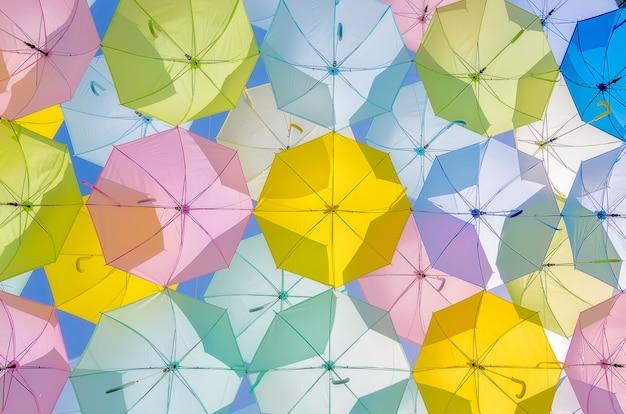 Multicolored umbrella decorations.