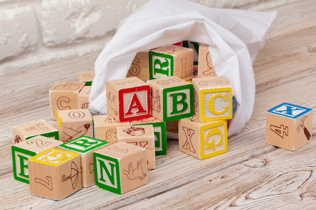 Multicolored wooden toy blocks