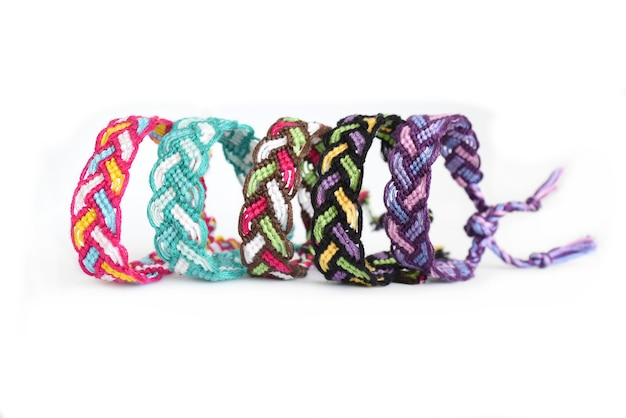 Multicolored woven diy friendship bracelets pigtail handmade of embroidery bright thread with knots