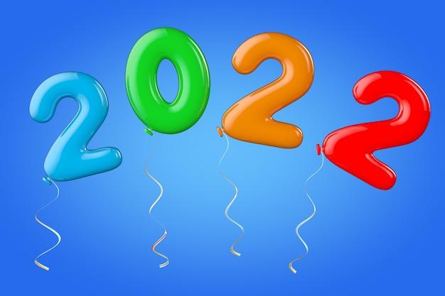 青い背景に2022年の新年のサインとしてのマルチカラーバルーン。 3dレンダリング