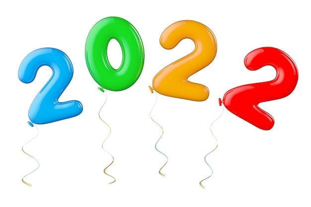 白い背景に2022年の新年のサインとしてマルチカラーバルーン。 3dレンダリング