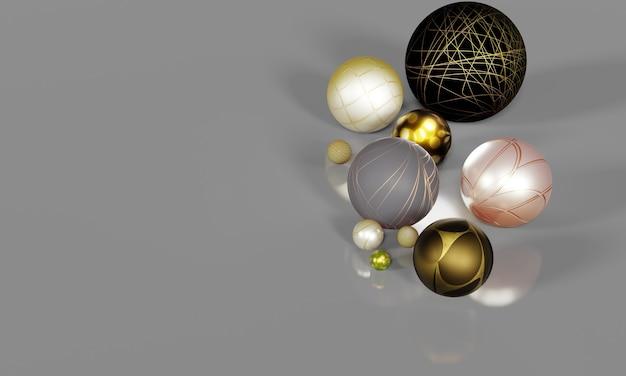 灰色の背景にマルチカラーボール3d球体クリーンでエレガント地面からの反射があります