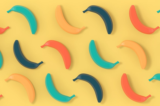 Multicolour bananas background texture on a yellow backdrop. 3d rendering