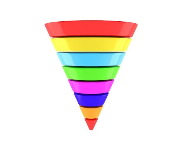 흰색 배경에 여러 가지 빛깔의 비즈니스 infographic 피라미드
