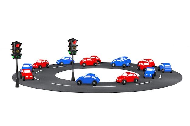 흰색 바탕에 도로에 여러 가지 빛깔의 만화 장난감 자동차. 3d 렌더링