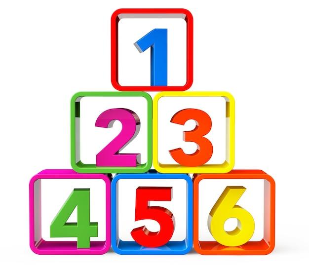 흰색 배경에 123개의 숫자가 있는 스탠드로 여러 가지 빛깔의 큐브