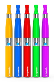 Multicolour electronic cigarettes on a white background