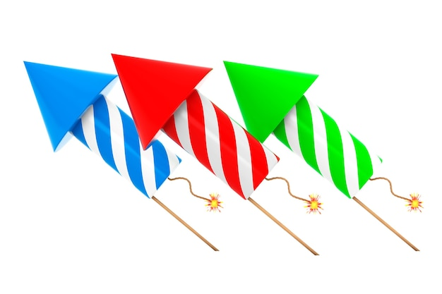 Multicolour fireworks rockets on a white background. 3d rendering