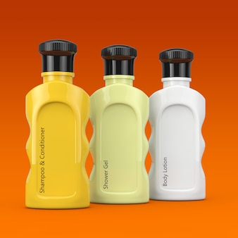 Разноцветные косметические бутылки отеля на оранжевом фоне. 3d рендеринг