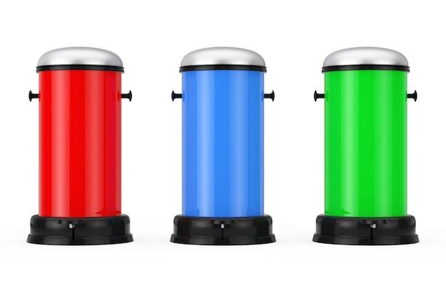 Разноцветные металлические мусорные баки с педалью на белом фоне. 3d-рендеринг.