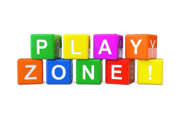 Разноцветные кубики алфавита со знаком игровой зоны на белом фоне. 3d рендеринг