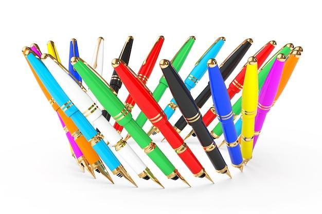 白い背景の上の色とりどりの噴水筆記ペン。 3dレンダリング