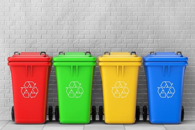Разноцветные урны для мусора перед кирпичной стеной. 3d рендеринг