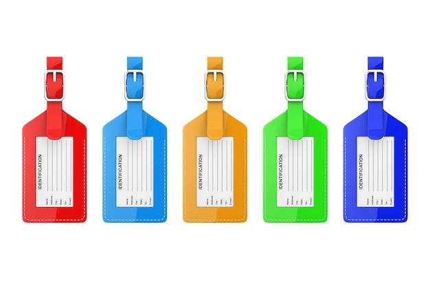 Multicoloured leather luggage identification label tags with name, address, city, state and phone fields on a white background. 3d rendering