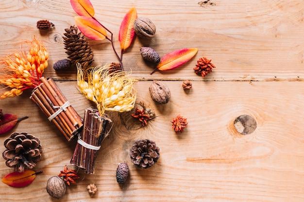 Multicolouredleaves with flowers and cinnamon sticks