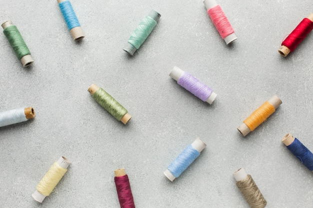 Multicoloured sewing threads background