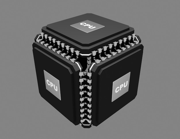 멀티코어 강력한 칩 개념. 3d 그림