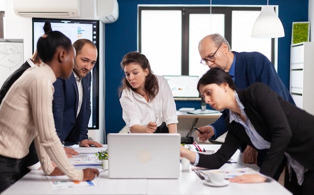 Multiethnic businesspeople meeting brainstorming