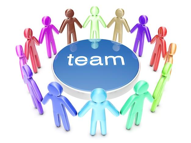 多民族チーム。輪になって立っているアイコンの人々のグループ。