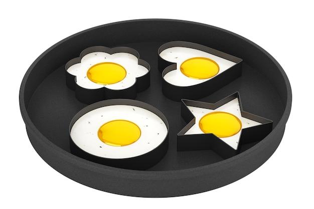 흰색 바탕에 팬에 여러 형태의 프라이드 계란