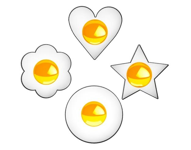 흰색 바탕에 여러 형태의 계란 프라이