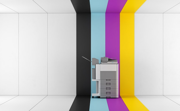Multifunction printer in a room with colorful wall