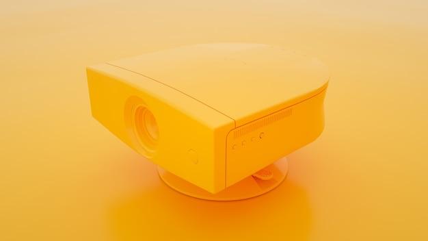 黄色の背景にマルチメディアプロジェクター