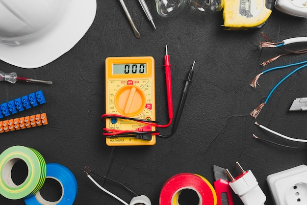 Multimeter placed in tools