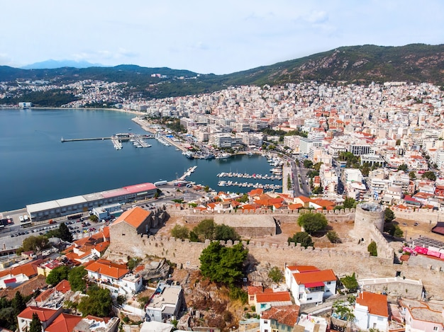 Multiple buildings on the aegean sea cost with port in kavala, greece