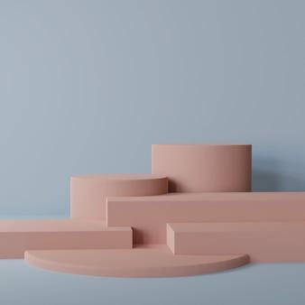 Макет пустого постамента с несколькими кубами и цилиндрами с синим фоном 3d-рендеринга