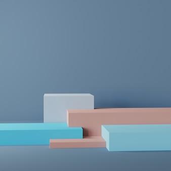 Макет пустого постамента с несколькими кубами для продукта с синим фоном 3d-рендеринга