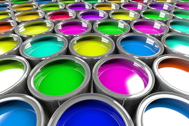 Multiple open paint cans.