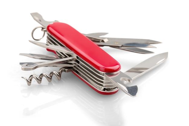 모든 필요한 도구가 하나로 흰색으로 분리된 다목적 칼
