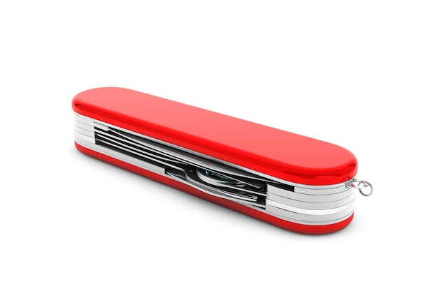 Multipurpose pocket knife. military red knife on a white background