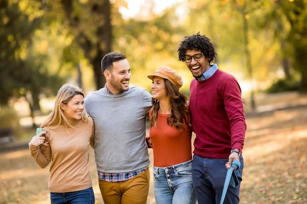 Многорасовые молодые люди гуляют в осеннем парке и веселятся