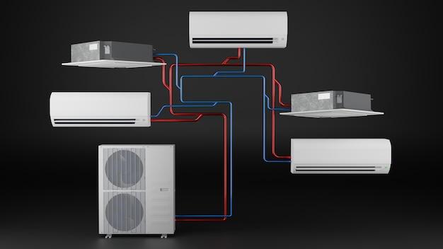 에어컨 3d 렌더 블랙의 다양한 유형의 실내기 다중 시스템 사용