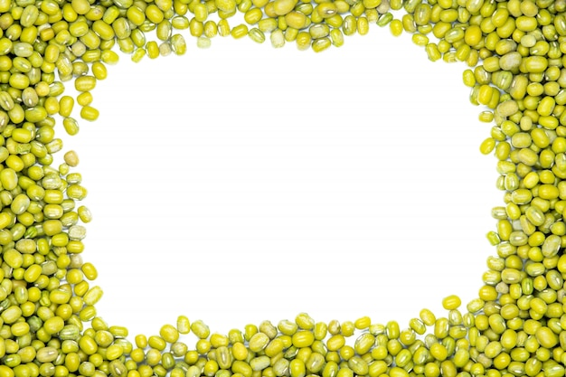 Mung bean, maash, copy space, isolated, close up.