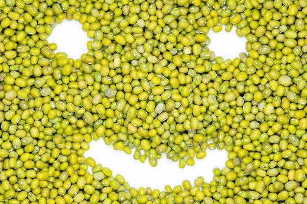 Mung bean, maash, funny smile face, isolated, close up.