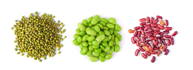 Mung beans, soy beans, red beans isolated on white background. top view